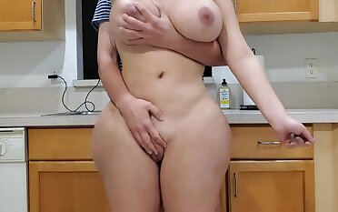 Scorching mother and sonny in kitchenette