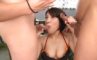 Insolent Japanese with big tits, tread threesome on cam