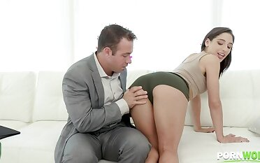Anal sex fiend Abella Happening gets a rimming and ass fucking until a facial GP1448