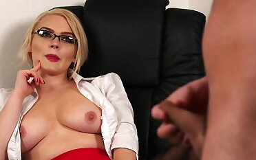 Aroused blonde thinks about rosiness