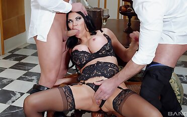 Debatable become man Jasmine Jae in lingerie gets fucked by twosome dudes