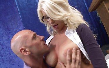 Nerdy blonde lady with big bosom gets rammed by a horny principal