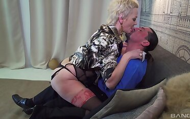 Granny fucks hard and swallows in the end