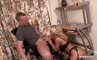 PURE XXX FILMS Busty Blonde Milf milks a cock