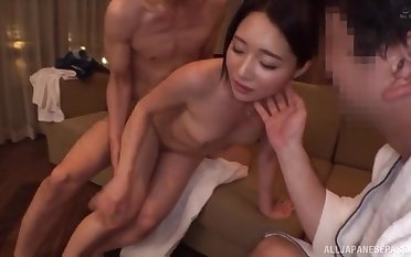 Hot Japanese beauty enjoying midnight cuckold pleasures