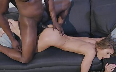 Teen babe loves the black meat working her cunt