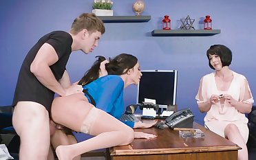 Dashing anal at work with mature Ariella Ferrera