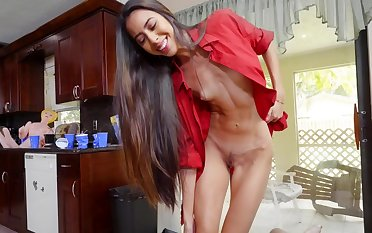 Girl with small tits tries cock in perfect POV