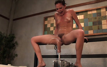 Crazy squirting, fetish xxx clip with hottest pornstar Sindee Jennings from Fuckingmachines