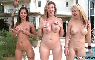 Three adorable whores Sara Jay, Sarah Vandella, Spicy J and one guy