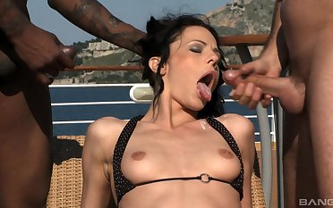 Interracial threesome with cum shots for a brunette slut Aliz outdoors