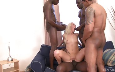 Long haired light-complexioned Jenny Simons gangbanged and imperceivable alongside cum