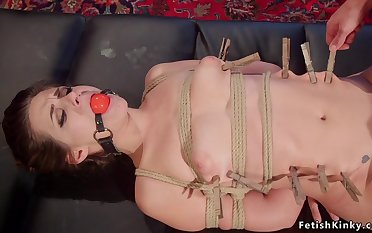 Lesbian concomitant butt paddled in corset shop