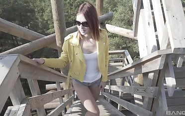 Mina puts a finger on her clit during a masturbation for saving except cum