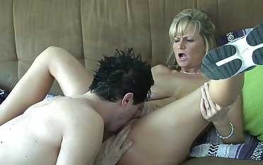 Licking and fucking a slutty blonde milf in sneakers