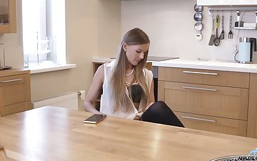 Slim MILF is masturbating on top be required of the dining table for your amusement