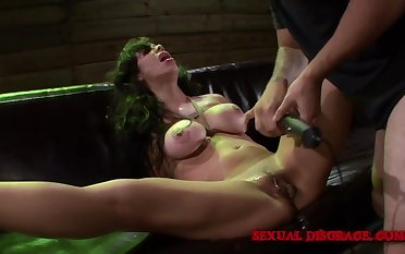 Milf submits in the air BDSM play there her kinky master
