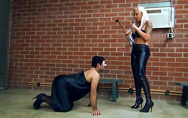 Femdom fetish spanking silencing debasement