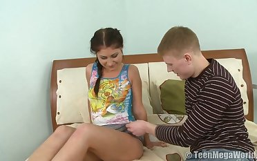 Svelte natural GF Elena G begs dude to polish will not hear of fresh pussy well