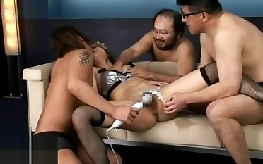 Young Japanese in stockings has estimated gangbang