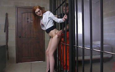 Hot ginger milf in glasses Maya Kendrick is fucked by horny prisoner