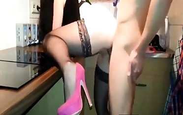 Fuck in burnish apply kitchen with stockings and heels
