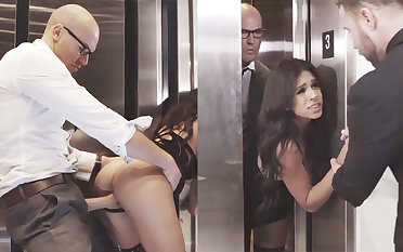 Sneaky GF cheating with her big-dicked boss in an elevator