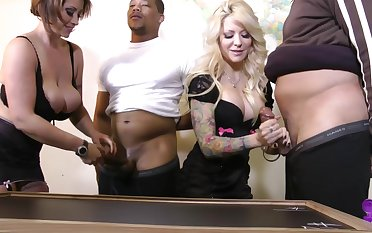 Low-spirited chick Helly Mae Hellfire likes group coitus more than anything else