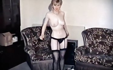 HANGING In excess of - vintage British stockings dance tease