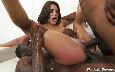 Crazy threesome for Adriana Chechik down interracial XXX