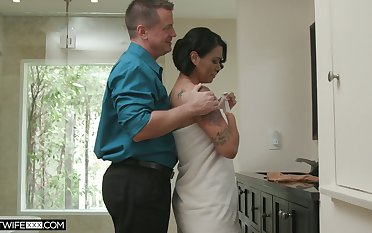Hot blooded wife Dana Vespoli is cheating in the first place her costs round bald headed neighbor