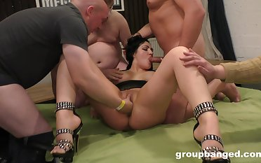 Anal sex and hard gagging for the wed during group sex