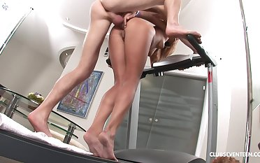 Repression workout soiled blonde Elle C wants to deprecation on a friend's penis