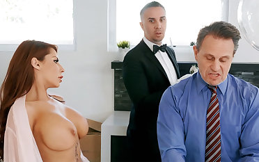 Horny butler is ready to anal roger housewife
