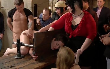 Tied brunette anal banged in public