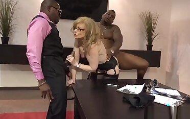 Nina Hartley legendary pornstar fucked by 2 blacks
