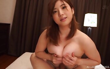 Smooth fucking beyond everything someone's skin bed with busty Japanese housewife. POV