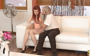 Old pervert seduces pretty red haired girlfriend be expeditious for his grandson